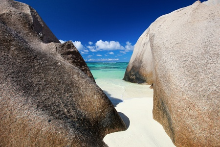 argent: Granite rocks on Anse Source d Argent beach in Seychelles Stock Photo