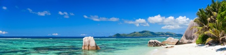 Panorama of beautiful Anse Source d Argent beach in Seychelles photo
