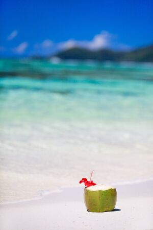 Coconut with tropical flower on exotic beach photo