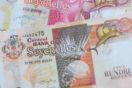 rupees: Close up of 500 and 100 Seychelles rupees banknotes Stock Photo