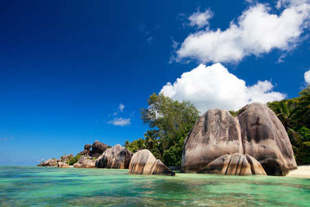 d argent: Anse Source d Argent beach on La Digue island in Seychelles