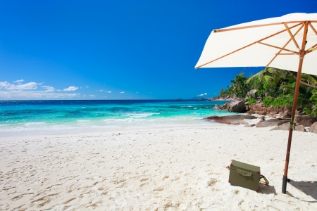 Beach picnic on exotic white sand beach Stock Photo