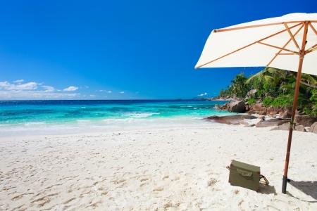 seasides: Beach picnic on exotic white sand beach Stock Photo