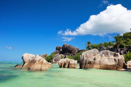 argent: Anse Source d Argent beach on La Digue island in Seychelles