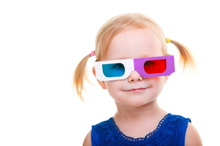 disposable: Adorable toddler girl wearing 3D glasses isolated over white Stock Photo