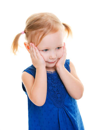 Studio photo of adorable toddler girl in blue dress isolated on white Stock Photo - 8848444