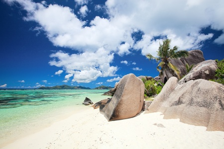 Beautiful Anse Source dArgent beach in Seychelles photo