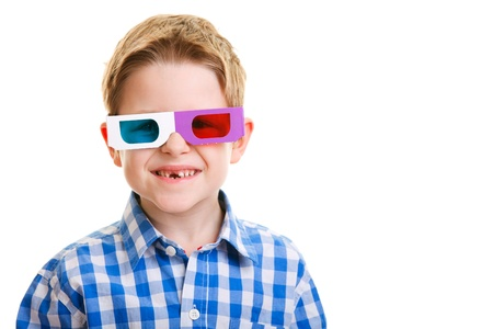 Cute little boy wearing 3D glasses isolated over white Stock Photo - 8848656