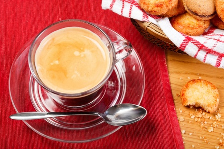 Morning fresh espresso coffee and delicious cookies photo