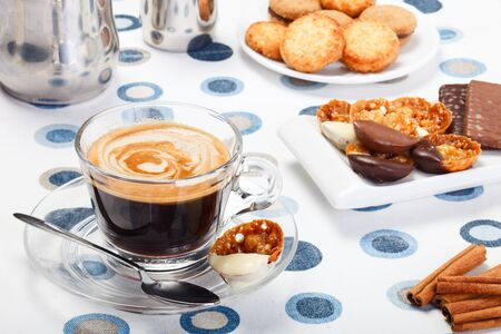 Morning fresh espresso coffee and delicious cookies Stock Photo - 8848840