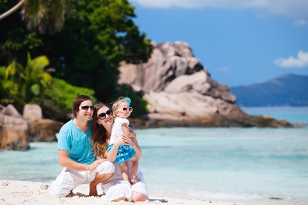 Portrait of happy young family on tropical vacation Stock Photo - 9166028