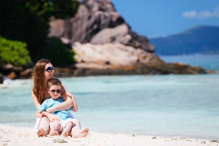 Mother and son on tropical beach vacation Stock Photo - 9166044