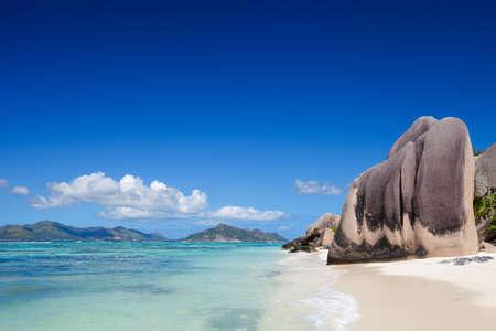 Stunning beach Anse Source dArgent at Seychelles photo