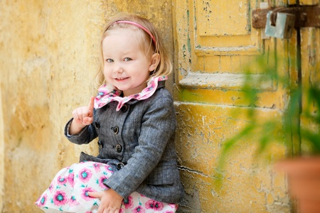 Portrait of adorable little girls outdoors in city Stock Photo - 9477672