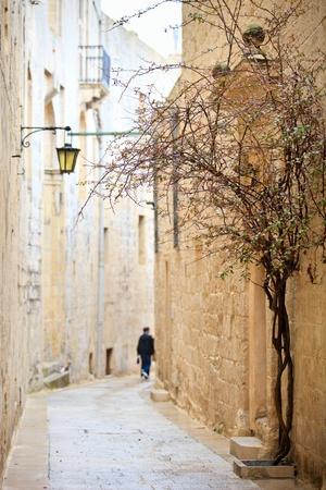 empedrado: Tranquila calle pavimentada piedra medieval de Mdina, la antigua capital de Malta