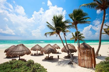 Beautiful Caribbean coast in Tulum Mexico Stock Photo