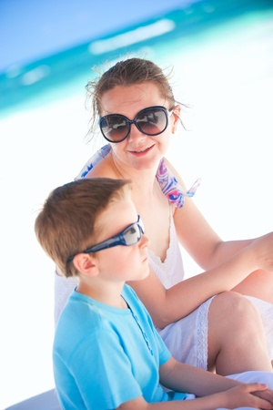Mother and son portrait on beach vacation Stock Photo - 9784300