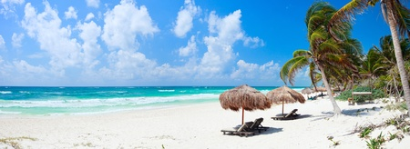 Panorama of Beautiful Caribbean coast in Tulum Mexico photo