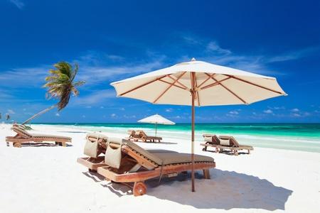 Beautiful Caribbean coast in Tulum Mexico photo