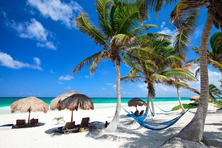 blue lagoon: Perfetto spiaggia caraibica in Messico Tulum Archivio Fotografico
