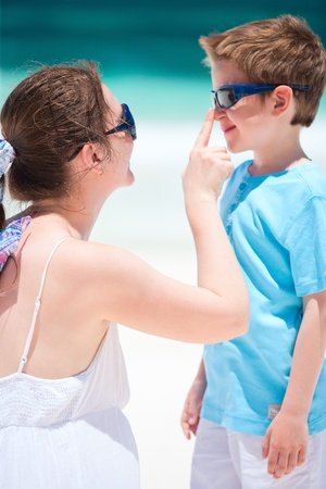 Portrait of mother and son on summer vacation photo