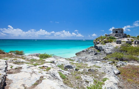 mayan riviera: Mayan ruins and beautiful Caribbean coast in Tulum Mexico