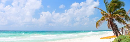 paradise bay: Perfect Caribbean beach in Tulum Mexico Stock Photo