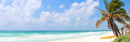 panorama beach: Perfetto spiaggia caraibica in Messico Tulum Archivio Fotografico