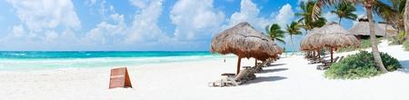 Panorama of Beautiful Caribbean coast in Tulum Mexico