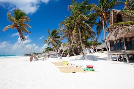 tulum: Perfect Caribbean beach in Tulum Mexico Stock Photo
