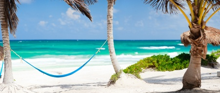 tulum: Beautiful Caribbean coast in Tulum Mexico Stock Photo