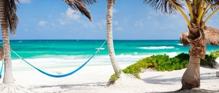 hammock beach: Beautiful Caribbean coast in Tulum Mexico Stock Photo
