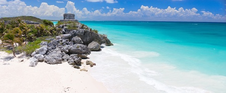 ruins is ancient: Mayan ruins and beautiful Caribbean coast in Tulum Mexico