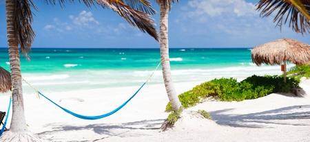 tulum: Beautiful Caribbean coast in Tulum Mexico Stock Photo