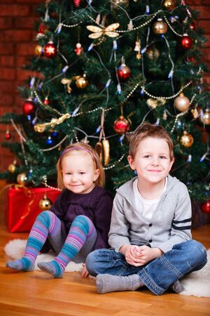 home decorated: Two small kids sitting near beautiful Christmas tree