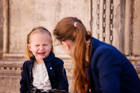 Portrait of cute little girl crying photo