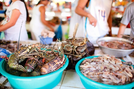 fish market: Exotic traditional seafood market on Boracay island in Philippines Stock Photo