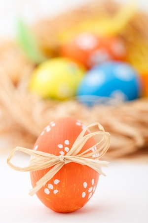 Studio photo of hand painted colorful Easter eggs photo