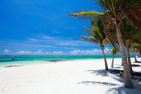 Beautiful white sand beach in Akumal Mexico photo