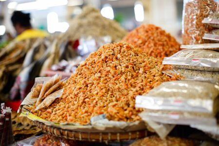 Dried shrimps on a market in Malaysia photo