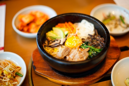 ethnic mix: Variety of a different delicious Korean dishes