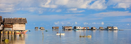 sea of houses: Traditional sea gypsy village near Kalapuan island in Malaysia