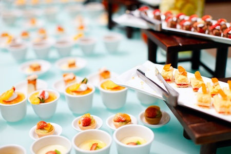 food buffet: Variety of delicious mini desserts at buffet restaurant