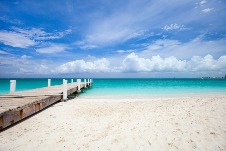 Beautiful beach at Caribbean Providenciales island in Turks and Caicos photo