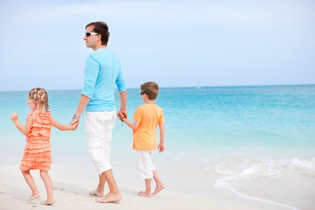 Portrait of happy family enjoying beach vacation photo