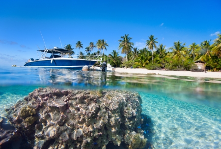 polynesia: Beautiful above and underwater landscape of a small island in French Polynesia Stock Photo