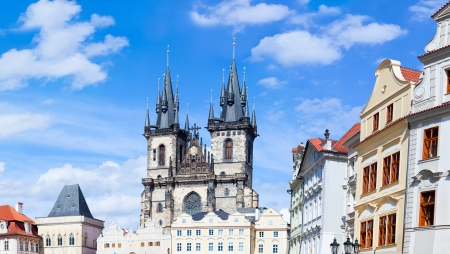 prague: Panorama of Old town square in Prague, Czech republic