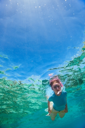 Underwater portrait of woman snorkeling in tropical lagoon photo