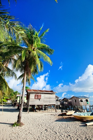 house float on water: Sea gypsy village at Kalapuan island near Semporna in Malaysia