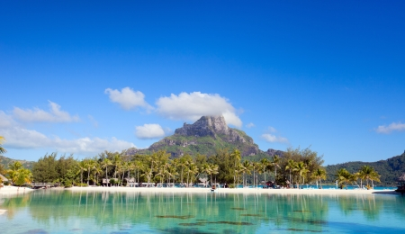Beautiful view of Otemanu mountain on Bora Bora island photo